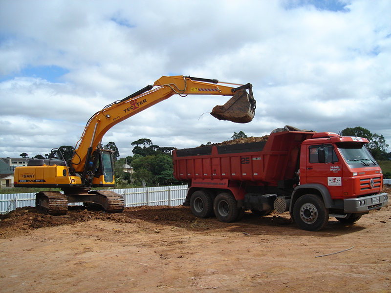 Hydraulic excavator SY215 in construction project.jpg