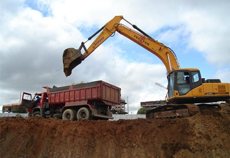 Hydraulic excavator SY215 in construction project