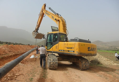 SANY SY210C-8 in a natural gas pipeline project
