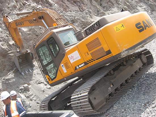 SANY SY210C excavators used in iron ore mining in Peru