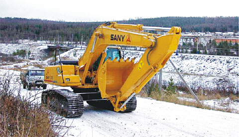 SANY SY210 excavators used in iron ore mining in Irkutsk