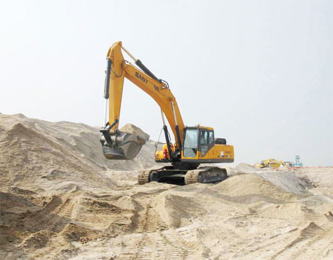 SANY SY215C excavator in Reclamation, Tuas, Singapore