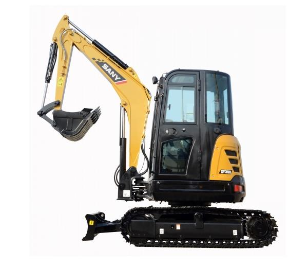 SANY 3.5 ton SY35U mini excavator used in garden renovation in Perth