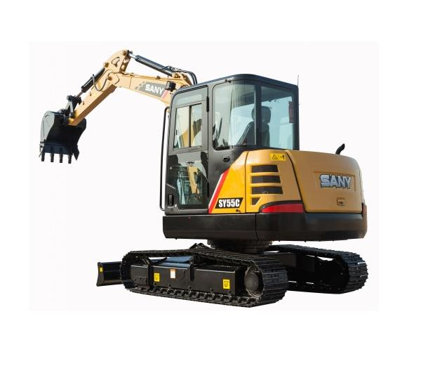 SANY small mechanical digger 5.5 ton SY55C excavator used in the farmland maintaining project