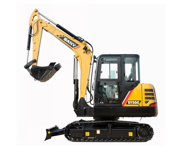 SANY small digger SY55C excavator used in loosening soil of vegetable greenhouse in Canberra, Austra
