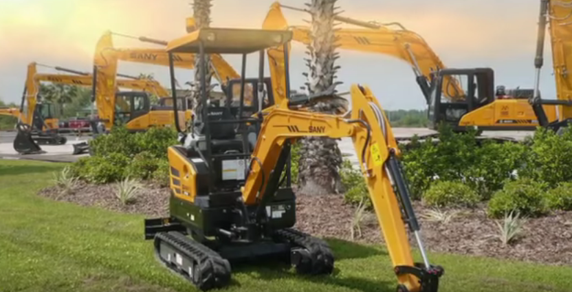 SANY 1.6 ton mini excavator SY16C used in lawn renovation in Australia