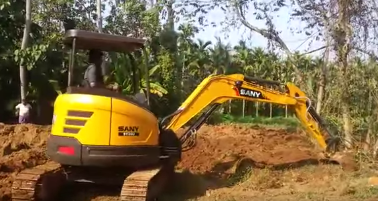 SANY 3.5 ton mini excavator SY35U used in tree planting in Newcastle, Australia