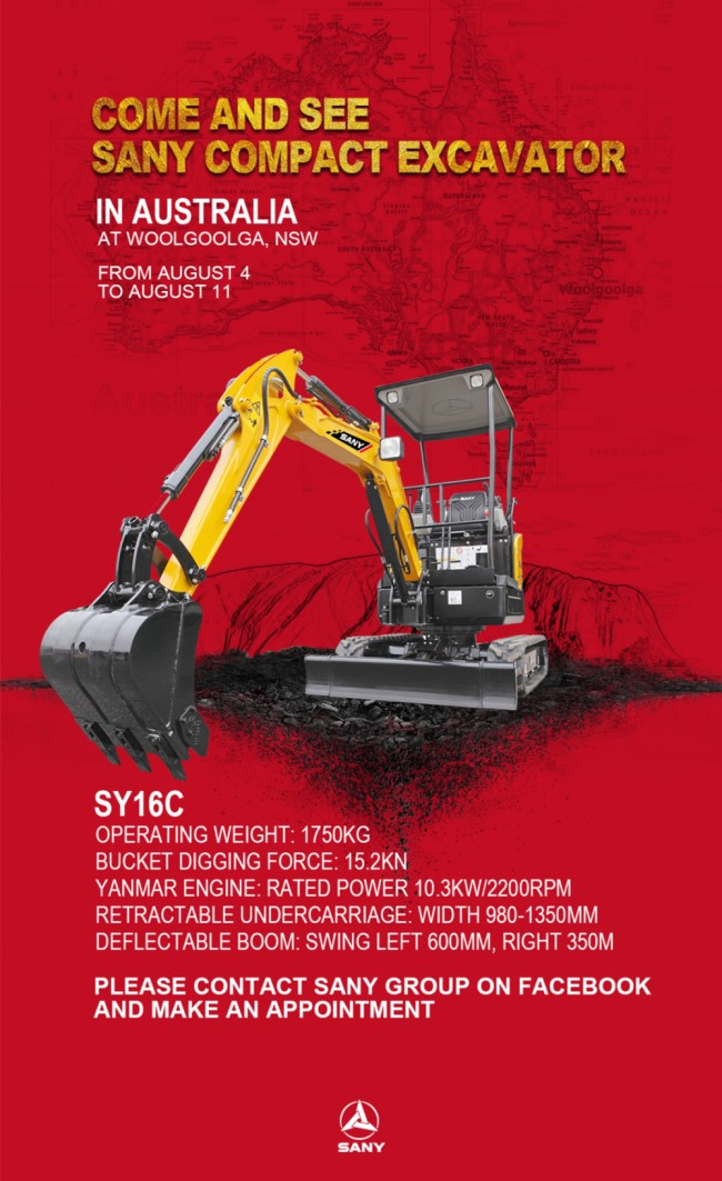 Come and see SANY SY16C excavator in Australia