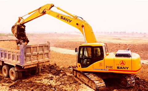 SANY SY210C used in provincial road construction