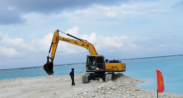SANY SY230 excavators used in Xisha islands of Hainan province