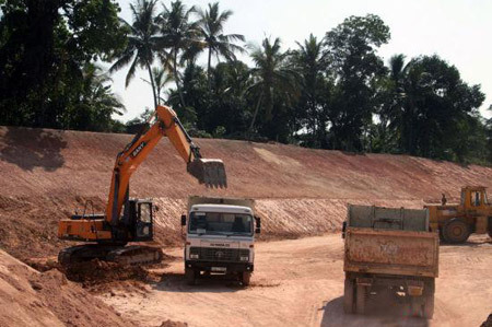SANY SY135C excavators used in railway construction in Sri Lanka