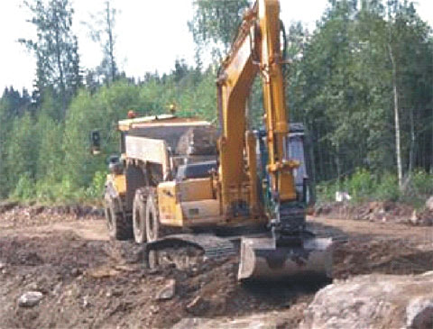 SANY SY235 excavators used in Swedish road widening project