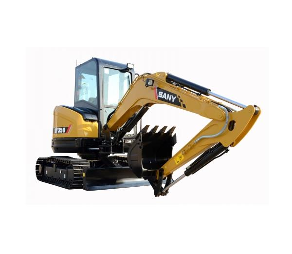 SANY mini digger SY35U excavator used in garden landscaping of Perth, Australia