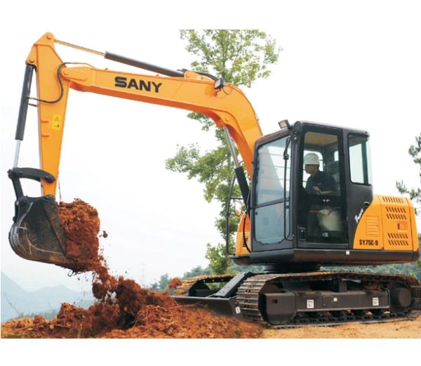 SANY 7.5 ton small excavator SY75C used in house foundation construction in Iran